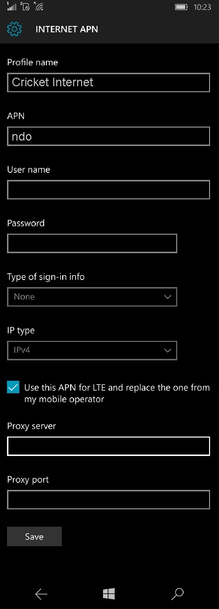 Cricket Internet Settings for Windows Phone