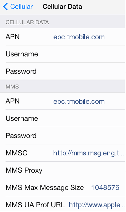 TMobile APN Settings for iPhone 6
