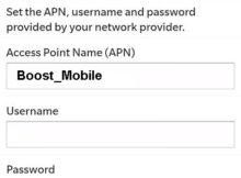 Boost Mobile US Blackberry APN Settings