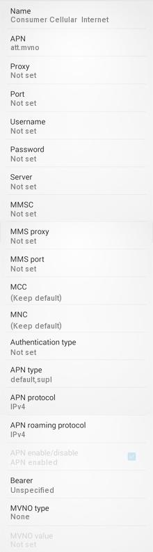 Consumer Cellular 4G LTE APN Settings for Android Galaxy HTC Moto G