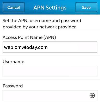 Family Mobile APN Settings for Blackberry 10
