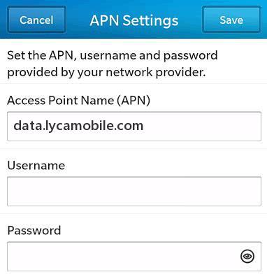 LycaMobile USA APN Settings for Blackberry 10