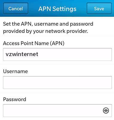 Verizon APN Settings for Blackberry 10