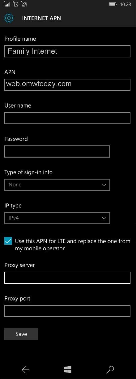 Family Mobile APN Settings for Windows Phone