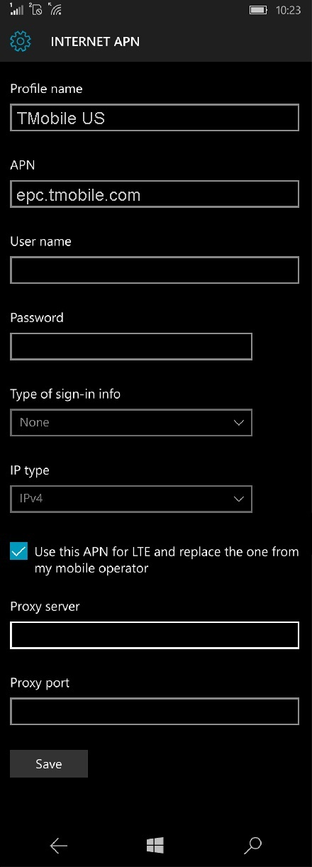 T-Mobile LTE APN Settings for Windows Phone