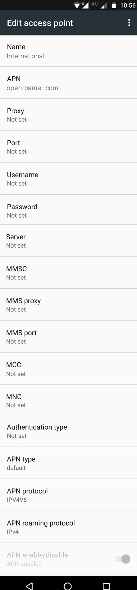 Cellular Abroad LTE APN Settings