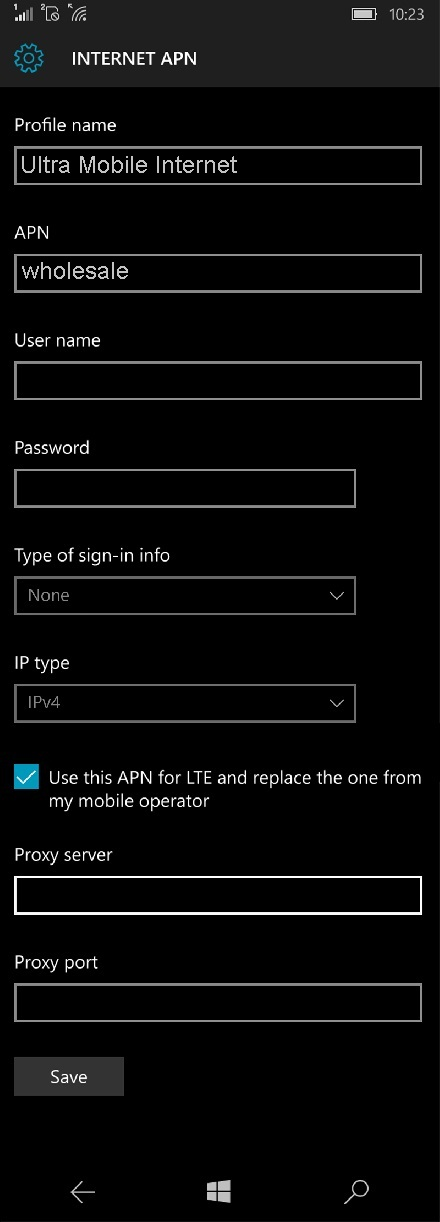 Ultra Mobile Windows Phone APN Settings
