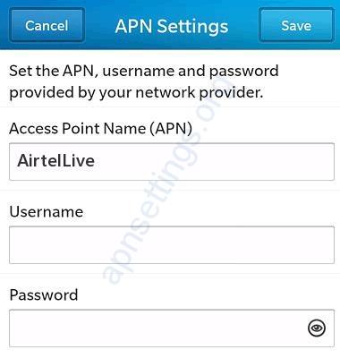Airtel Srilanka Internet APN Settings for Blackberry
