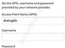 Dialog Internet APN Settings for Blackberry