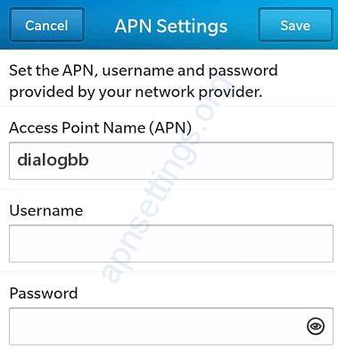 Dialog APN Settings for Blackberry