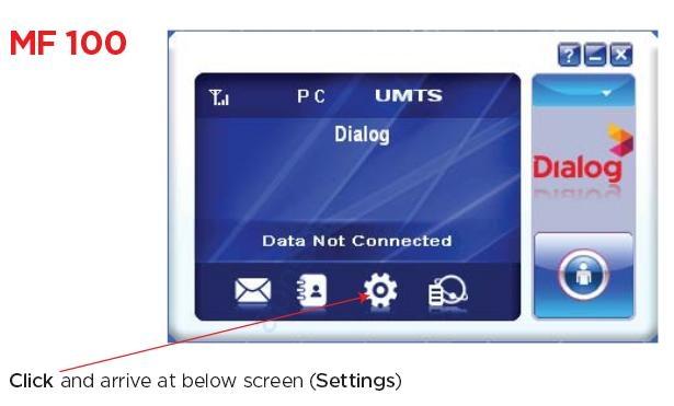 Dialog Mobile Broadband APN Settings for MF100