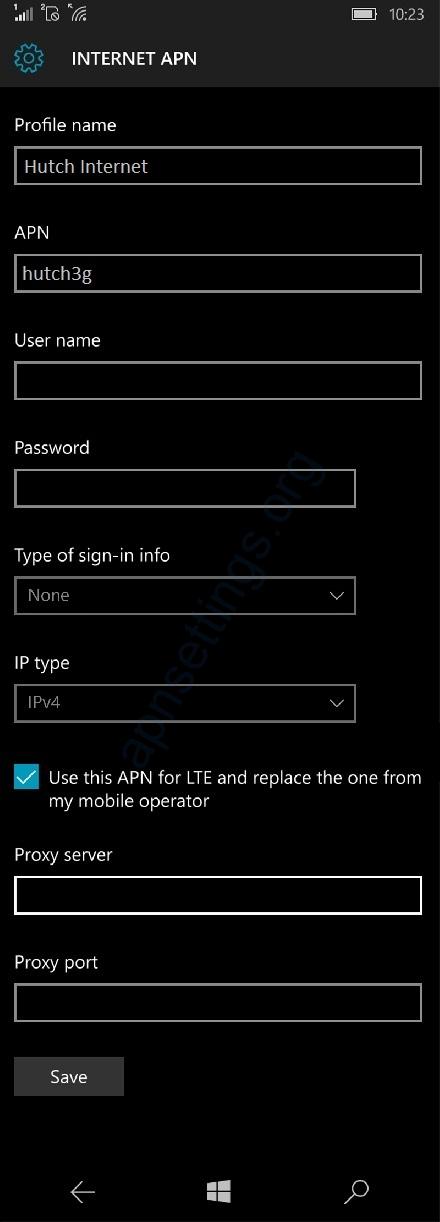 Hutch Internet APN Settings for Windows Phone