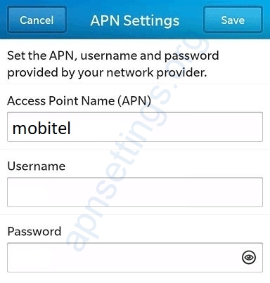 Mobitel APN Settings for Blackberry
