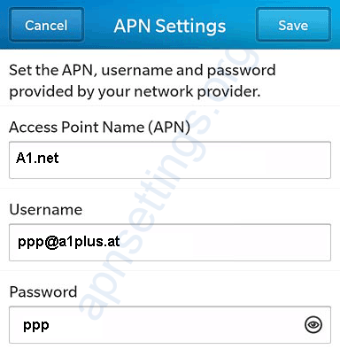 A1 Austria APN Settings for Blackberry 10