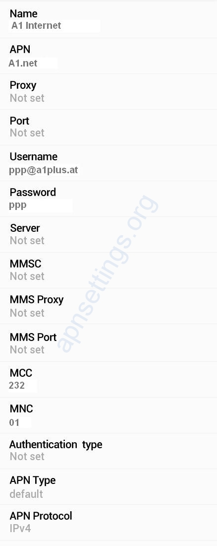 A1 Internet and MMS APN Settings for Android Galaxy HTC