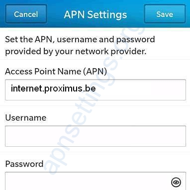 Blackberry Internet and MMS Settings for Proximus