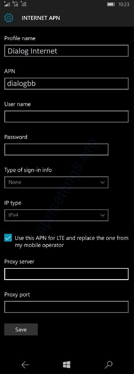 Dialog Internet Settings for Windows Phone