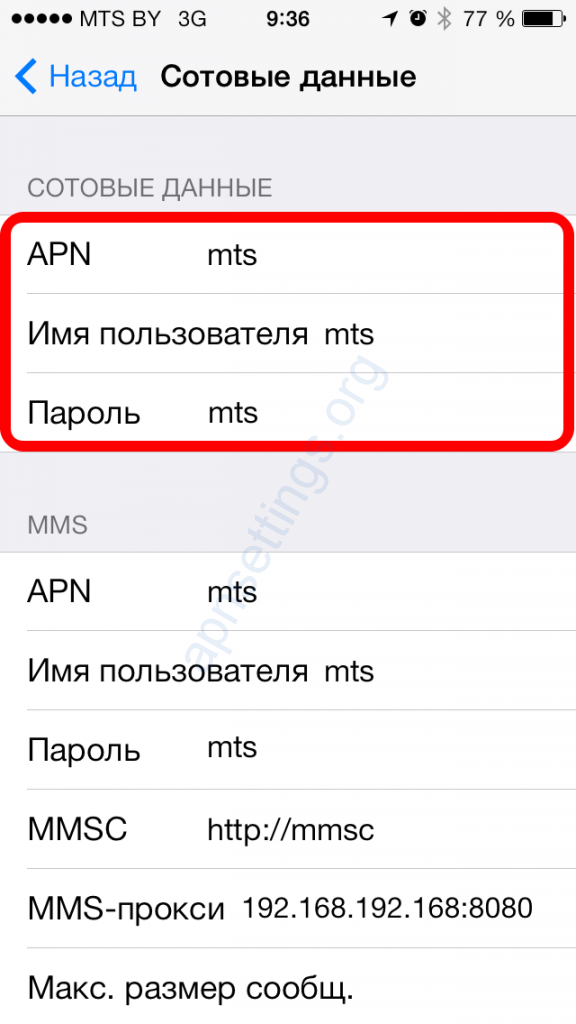 MTS APN Settings for iPhone