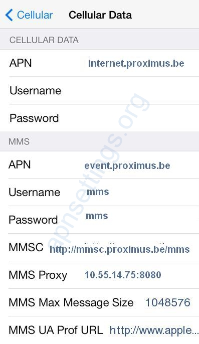 Proximus 4G Internet and MMS Settings for iPhone