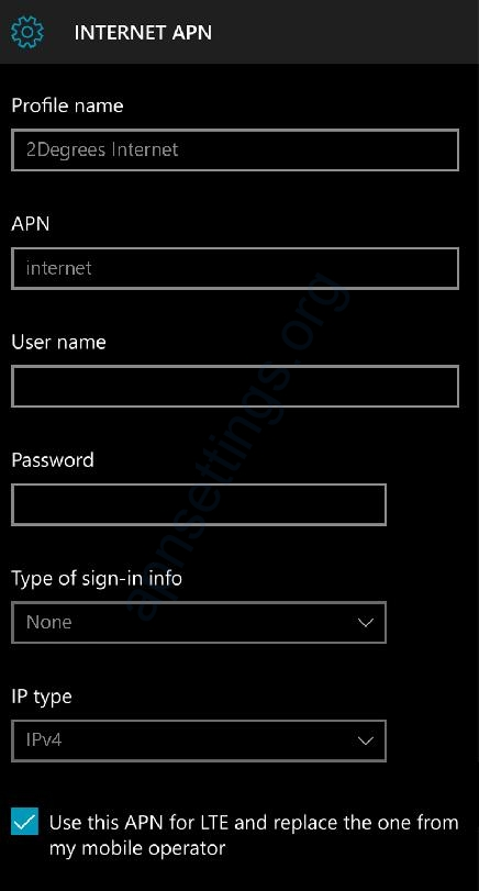 2 Degrees APN Settings for Windows Phone