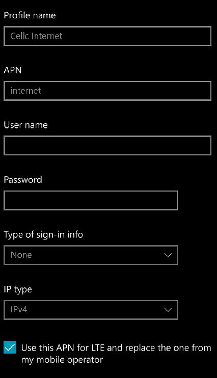 Cell C APN Settings for Windows Phone 10