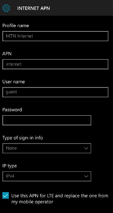MTN Internet APN Settings for Windows Phone
