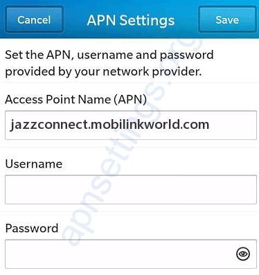 Mobilink 3G GPRS Settings for Blackberry 10