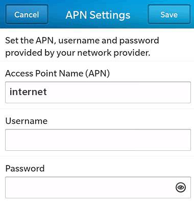 Telkom 8ta APN Settings for Blackberry