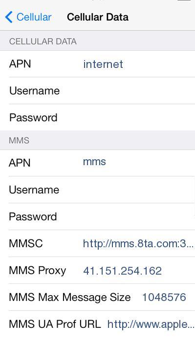 Telkom 8ta APN Settings for iPhone