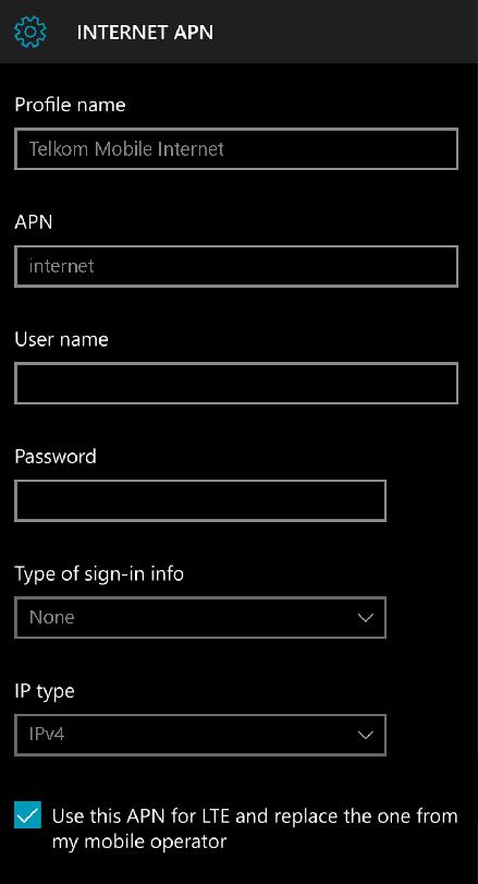 Telkom APN Settings for Windows Phone