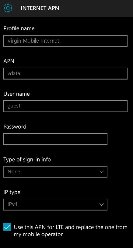 Virgin Mobile South Africa APN Settings for Windows Phone 10