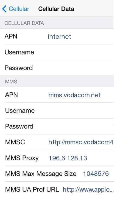 Vodacom LTE APN Settings for iPhone iPad