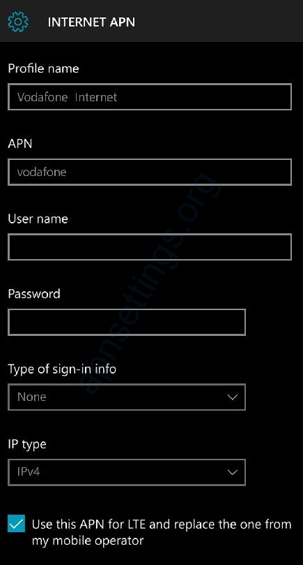 Vodafone NZ APN Settings for Windows Phone