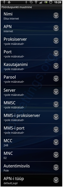 Elisa Estonia APN Settings for Android
