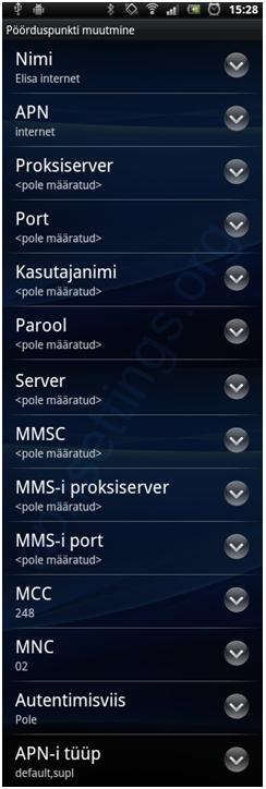Elisa Estonia APN Settings for Android