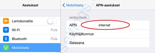 Elisa Fi APN asetukset iPad iPhone
