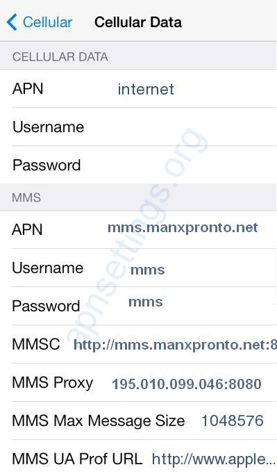 Manx 4G Internet and MMS Settings for iPhone iPad