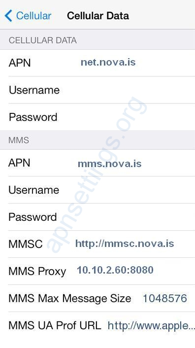 Nova 4G APN Stillingar fyrir iPhone 6