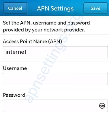 Spark APN Settings for Blackberry - 10