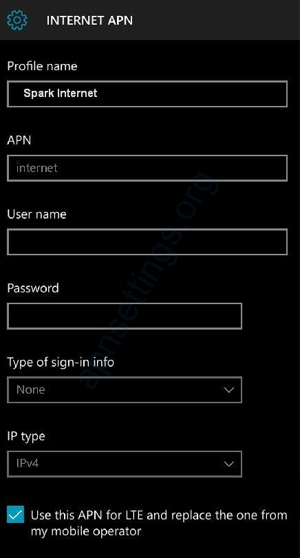 Spark APN Settings for Windows Phone