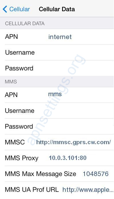 Sure Mobile IOM Internet Settings for iPhone