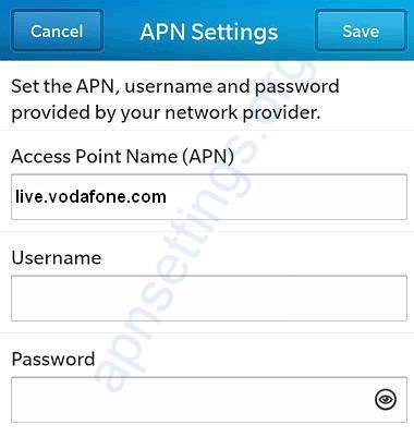 Vodafone Ireland APN Settings for Blackberry