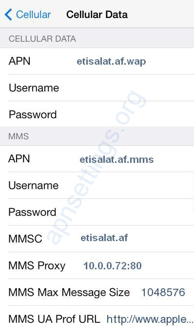 Etisalat Afghanistan APN settings for iPhone 6