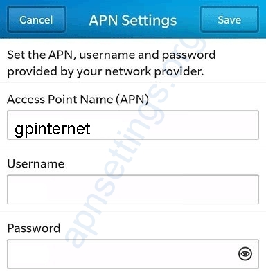 Grameenphone Blackberry Internet Settings