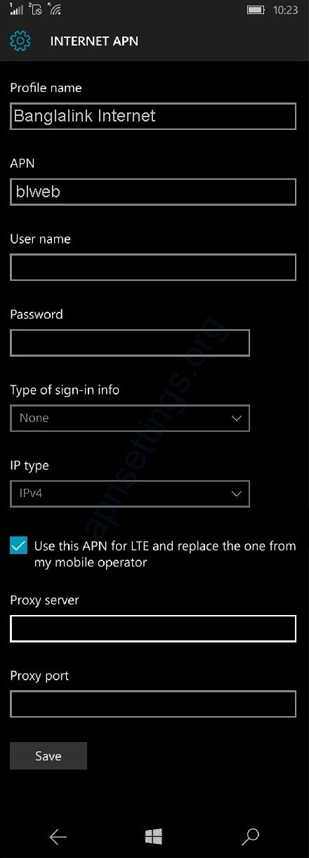 Banglalink internet Settings for Windows Phone