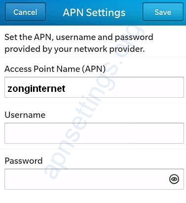 Zong Internet Settings for Blackberry 10