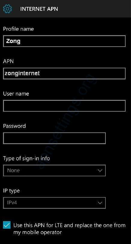 Zong Internet Settings for Windows Phone