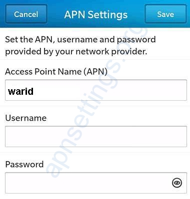 Warid Internet Settings for Blackberry