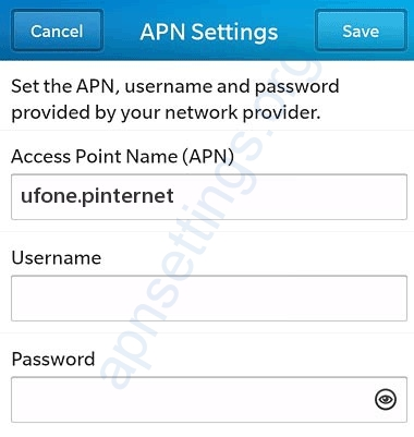 Ufone Blackberry Internet Settings