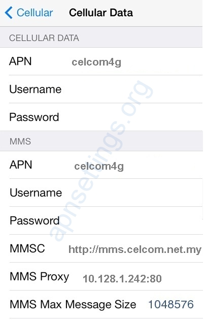 Celcom 4G Settings for iPhone